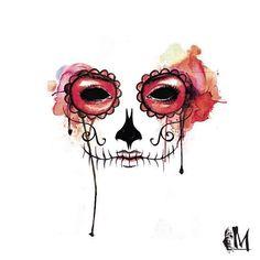 #skull #craneo #calavera #skeleton #nochemenades #mexican #mexico #art #arte #artemexicano #acuarelas #watercolor #tattoo #catrina #halloween