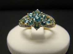 SOLID 14K GOLD ROUND CLUSTER APATITE DIAMOND ACCENTS 2.9 GRAMS SIZE 6.5 BLUE #Cluster
