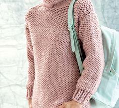 Retrouvez un petit côté rétro avec ce pull tube tricoté en 'Phil-Express ', coloris Rosée.Modèle N°8 du catalogue N°125 : Femme, Automne/Hiver 2015