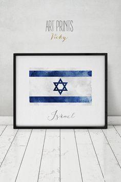 Israel flag print Israel art poster watercolor by ArtPrintsVicky