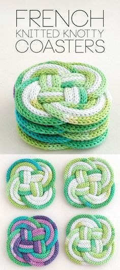 DIY Spool Knit Knotted Coasters Tutorial from My Poppet.An automatic cord knitting machine is used for these DIY knotted coasters, but links are provided for making handmade knitting spools and how to knit an icord. What is spool or French...