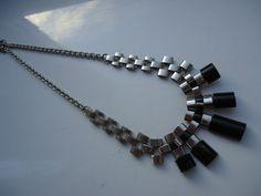 Art Deco Jakob Bengel Chrome and Bakelite Necklace