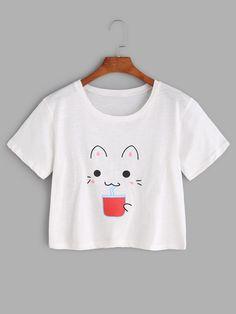 T-Shirts by BORNTOWEAR. Cat Print Crop Tee
