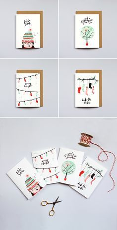 The Lovely Drawer Christmas Cards | brush lettering | illustration | watercolour design | art | Christmas idea