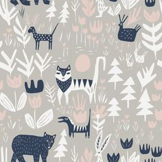151850 Lions Tigers and Bears | Gray Quilter's Cotton from Lore by Leah Duncan for Cloud9 Fabrics