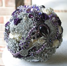 purple satin  roses and broach boquets | Purple, eggplant and ivory brooch wedding bridal bouquet. Deposit on a ...