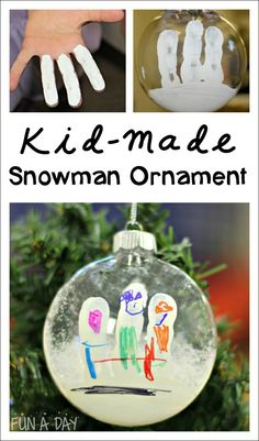 Kid-Made Snowman Fingerprint Ornament - A fun ornament the kids can make to decorate the tree.