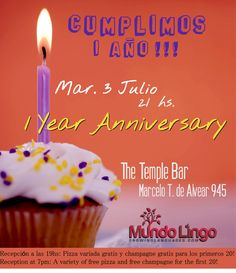Mundo Lingo celebrates its 1 year anniversary. The party starts at 7:00pm with free champagne for the first 20 and free pizza for all!