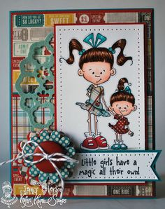 Sisters Holding Hands from Lulu and Libby stamp set by Kraftin' Kimmie Stamps  Design by Jenny Peterson