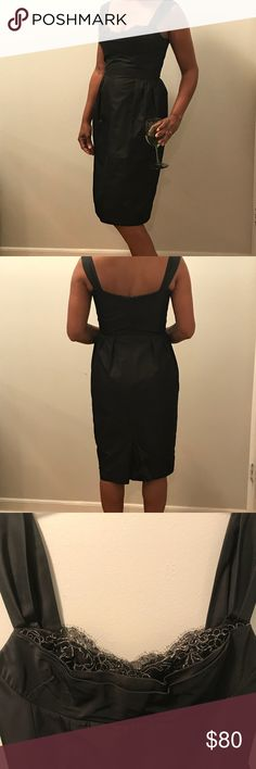 Lida Baday Black Cocktail Dress 🍸 This dress has a black zip closure with interior clasp, pleated sides and a lace detail at the bust line of the corset style bodice. This black silk and lace trim dress will be the talk of any event. Excellent condition Lida Baday Dresses