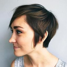 Brunette pixie bob with highlights