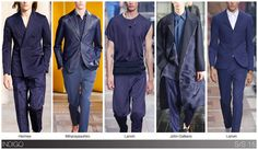 """Indigo: Inky shades of navy blue and indigo have become the must-have option for all collections and markets - no matter the season. The """"almost black"""" shades of S/S 2014 and F/W 14 lighten up just a bit for S/S 2015, but still maintaining a saturated look. Multiple shades of indigo seem contemporary when styled together as a monochrome look. For S/S 2015, there's also a subtle hint of purple under the rich shades of blue."""