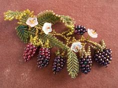 Oregon Bouquet (Blackberry) - Brooch (embelished peyote) - kit by the Beadcats Seed Bead Jewelry, Bead Jewellery, Seed Beads, Beaded Jewelry, Seed Bead Projects, Beading Projects, Bead Embroidery Jewelry, Ribbon Embroidery, Beading Techniques