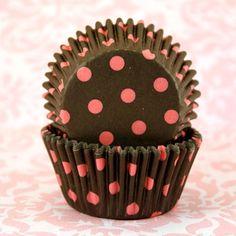 Black and Pink Polka Dot Baking Cups