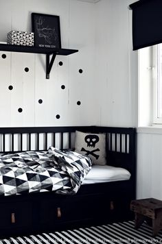 So cool for a teen room. Great colours, perhaps with a brighter colour mixed in, like red
