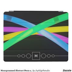 Monogrammed Abstract Neon and Black Cool iPad Smart Cover Older Models, Neon Glow, Neon Colors, Apple Ipad, Multifunctional, Keep It Cleaner, Gadgets, Monogram, Electronics