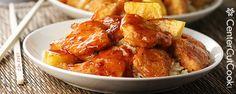 Oven Sweet and Sour Chicken~*  | Chicken: 1c corn starch, 2 beaten eggs, salt/pepper/garlic powders, 1 green pepper, red pepper & pineapple | Sauce: 1.5c sugar, .5c ketchup, 1c vinegar, 1.5tbsp worcestershire sauce, 2tsp garlic, .5tsp black pepper | Dip chicken into corn starch, then egg, then quick brown on skillet.  Mix sauce items, throw chicken & sauce together. Bake 325F ~1hr, flip every 15mins.