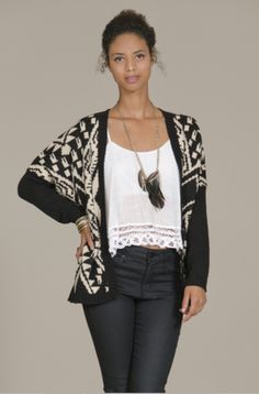 Tribal Print Open Cardigan Sweater by Flying Tomato