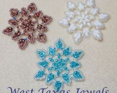 Snowflake 10 Beaded Ornament Pattern von Westtexasjewels auf Etsy