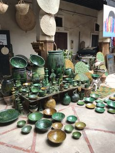 Moroccan Tamegroute pottery is made with raw materials which produce this lovely green when cooked Moroccan Design, Moroccan Colors, Morocco Travel, Africa Travel, Morocco Itinerary, Moroccan Table, Green Plates, Desert Tour, Raw Materials