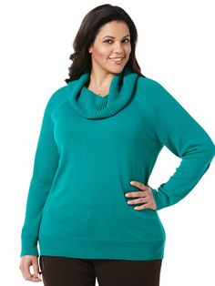 Cotton Blend Turtle Neck Sweater - Woman Plus #holidaycontest rafaellasportswear.com