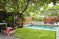 Inspired by a family trip to Bali, this compact garden includes kid-friendly zones and plenty of space for entertaining. Backyard kids friendly This compact Sydney garden is inspired by Bali Small Backyard Landscaping, Backyard Patio, Landscaping Ideas, Small Backyard With Pool, Small Pool Ideas, Small Pool Design, Gravel Patio, Luxury Landscaping, Landscaping Company