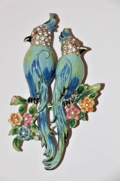 Coro-Duette-Bird-of-Paradise-Pin-Brooch-Vintage-1940s-Costume-Jewelry-Retro-Deco