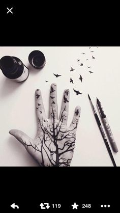 Hand drawing with birds