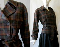 Italian wool blend vintage plaid jacket, motorcycle cut, brown, rust, moss green, and black, about a medium by afterglowvintage on Etsy Plaid Coat, Plaid Jacket, European Style, European Fashion, Vintage Wool, Wool Blend, Vintage Outfits, Trending Outfits, Rust