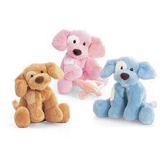 "Baby GUND 4"" Spunky Rattles Plush Puppy Dog - Pink Blue or Tan 058493 NWT #GUND"