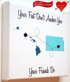Canvas Best Friend Long Distance Map Gift: Going Away Present Best Friend Gift Ideas Most Popular Quote Turquoise Hearts Maps Dotted Line on Etsy, $49.00