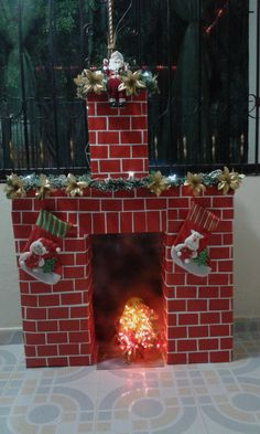 icu ~ How To DIY A Christmas Fireplace From Cardboards Christmas Classroom Door, Office Christmas, Christmas Sewing, Diy Christmas Ornaments, Simple Christmas, Christmas Gift Box, Christmas Holidays, Christmas Christmas, Christmas Themes