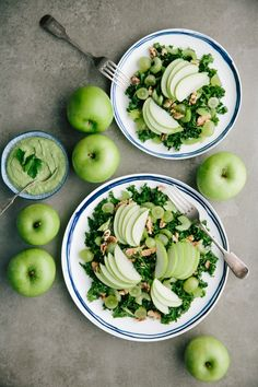 Very Green Apple Salad with Creamy walnut & parsley dressing Green Apple Salad, Apple Walnut Salad, Healthy Fruits, Healthy Eating Recipes, Healthy Foods, Salads To Go, Aussie Food, Greens Recipe, Salad Ingredients