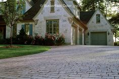 Flip through our gallery of dozens stamped concreted applications. Stamped Concrete Driveway, Concrete Patio Designs, Concrete Driveways, Driveway Entrance, Driveway Ideas, Cobblestone Driveway, Living Spaces, New Homes, Mansions