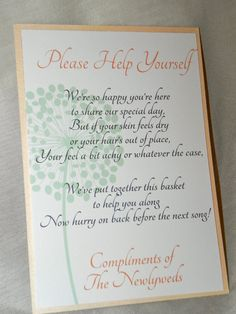 """Wedding Bathroom Basket Sign in Coral and Mint, 5x7. $3.00, via Etsy. (Why would I buy this now.... I can print this myself...that and I think it's supposed to say """"feet"""" instead of """"feel"""" or """"you"""" instead of """"your"""")"""
