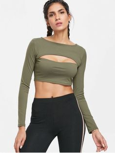 ce509f181df64 Long Sleeve Cut Out Gym Cropped T-Shirt