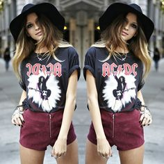 #stealthelook #look #looks #streetstyle #streetchic #moda #fashion #style #estilo #inspiration #ACDC #camiseta #chapeu #short #vinho #vintage