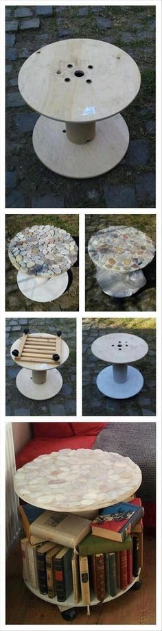 Add rocks to the top of a large wood Spool ( good idea for the one I have as a patio table in the backyard )