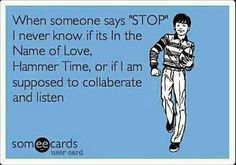 I think I'll collaborate and listen. Maybe who ever made this card should have used some spell check. Still funny.