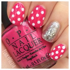 "My Pink Polka Dot Victoria's Secret Inspired Nails! Painted with OPI ""That's Hot! Pink"""