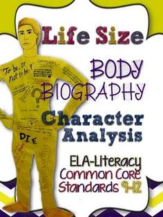Free! Life Size Body Biography: Character Analysis CCSS ELA-Lite