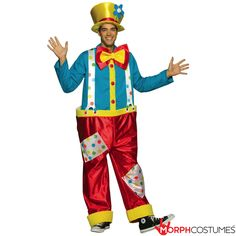 Buy this affordable adult clown costume online now! This women's or men's circus clown fancy dress costume is in stock ready for express delivery Australia wide. Cheap clown costumes are in stock for express delivery now! Clown Halloween Costumes, Circus Costume, Funny Costumes, Halloween Fancy Dress, Adult Costumes, Halloween Kids, Circus Clown, Circus Party, Halloween Carnival