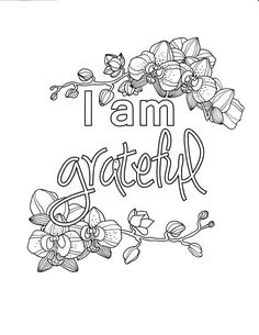 I Am Content, Self-Affirmation, Adult Coloring Page
