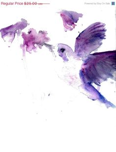 "Just Because Sale Print of Original Watercolor Painting, Titled: ""Josie the Hummingbird"" by Jessica Buhman 8 x 10 Purple Pink Floral Flower"