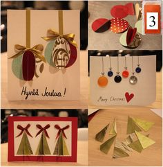3. Luukku  Muutamia kivoja ideoita joulukortiksi. Kaikki kortit on tehty vanhoista tapeteista, joten niitä kannattaa hyödyntää mikäli on jäänyt jämäpaloja. ;) Jos innostuit askartelemaan, meiltä löytyy myös paljon vanhoja tapettipaloja 1,- kpl.