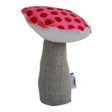 ANNABEL KERN Mini Mushroom Cushion Pink/Red --- Cuddly and super cute cotton mini mushroom cushion/toy by Annabel Kern, perfect as a nursery gift. Dimensions: 18 x 13 cm  Material: 100% Cotton cushion with polyester stuffing. Washable