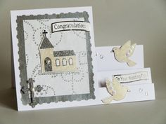 3D Church & Doves Side Stepper Wedding by LornaFineCustomCards