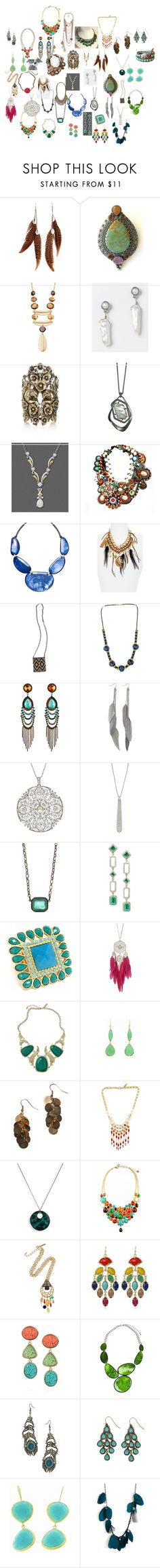"""""""Soft Natural Jewelry (Mostly)"""" by authenticbeauty ❤ liked on Polyvore featuring MANGO, Carolyn Pollack/Relios, Alfani, Ann Taylor, Roberto Cavalli, Alexis Bittar, Style & Co., Gypsy, Micha Design and Scotch & Soda"""