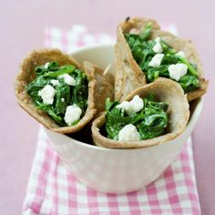 Wholewheat Greek Wraps With Olive Oil, Garlic, Spinach Leaf, Feta Cheese, Tortilla Muesli, Granola, Brunch Recipes, Breakfast Recipes, Healthy Breakfast Wraps, Whole Wheat Tortillas, Vegetarian Eggs, Spinach And Feta, Spinach Leaves