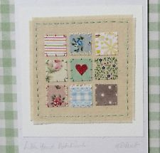 LITTLE HEART PATCHWORK hand-stitched card designed and made by Helen Drewett